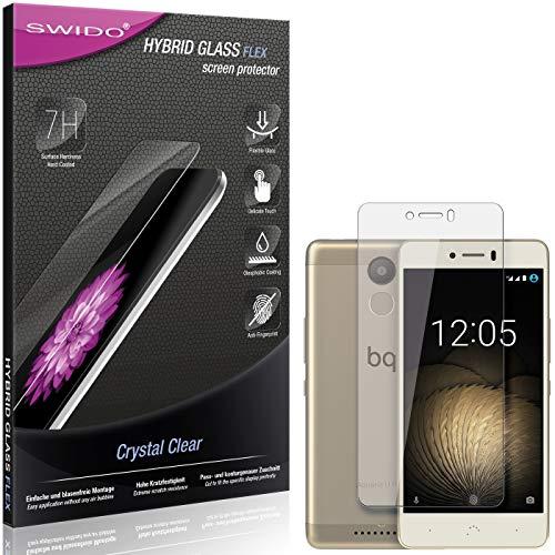 SWIDO Panzerglas Schutzfolie kompatibel mit BQ Aquaris U Plus Bildschirmschutz-Folie & Glas = biegsames HYBRIDGLAS, splitterfrei, Anti-Fingerprint KLAR - HD-Clear