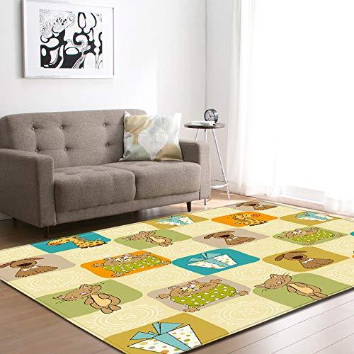 XLDYSC Living Room Carpet,Cute Puzzle 3D Printed Big Carpets,Modern Cartoon Floor Rectangular Non-Slip Mats,Home Area Rug For Kids Room Play Living Room Bedroom Decor,80X120Cm(31.49X47.24 In)