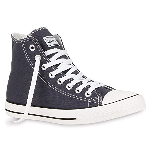 stiefelparadies Herren Schuhe High Top Sneakers Schnürer Sportschuhe 54122 Dunkelgrau Ambler 38 Flandell