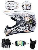 LZSH Casco de moto casco de motocross profesional, casco de cross, MTB, casco infantil, casco con gafas/guantes/máscara, ECE homologado adultos niños quad bike ATV go-kart-helm (D,L: 59-60 cm)