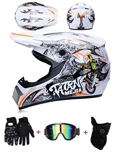 ZLCC Casco de Motocross Profesional, Cascos de Cross de Moto Set con Gafas/Máscara/Guantes, Niño Motos Deportivas Off-Road Enduro Casco ATV MTB BMX Quad Cascos de Motocicleta (C-01,S: 52-56 cm)