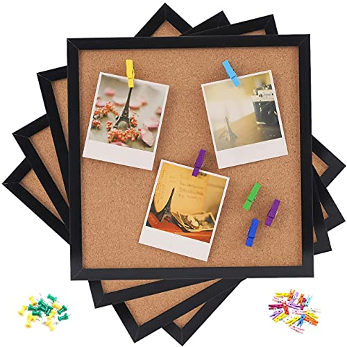 """Cork Bulletin Board, 12""""X 12"""" Square Wall Tiles, Black Framed Corkboard 4 Pack, Modern Black Framed Board for Home, School & Office (Set Including 20 Colorful Push Pins, 20 Push Pin Wood Clips)"""
