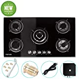 34' inches Gas Cooktop Tempered Glass Built in Gas Stove 5 Burners Gas Stoves Cooktop (5 Sealed Burners) Stove Burner Cast Iron Grate Stove-Top LPG/NG Dual Fuel Thermocouple Protection and Easy to Cle