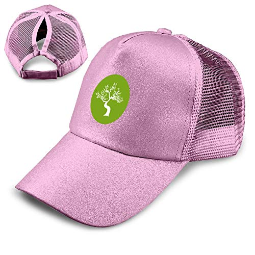 Japanese Bonsai Tree Logo Baseball Cap, Sequin Mesh Cap, Adjustable Ponytail Messy Buns,Trucker Cap Pink
