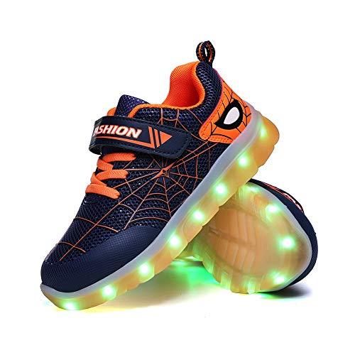 Spider Kid Niñas Niñas LED Zapatos Iluminados Entrenadores Niños Carga USB Intermitente Bajo Top Zapatillas Mejor Regalo Cumpleaños Halloween Día de Navidad, color Naranja, talla 27 EU
