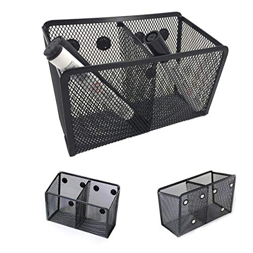 Magnetic Pencil Holder - Magnetic Marker Holder - Storage Basket for Office Pens Whiteboard Markers School Locker and Cubicle Accessories - Pen Cup and Caddy - 2 Compartments with 6 Strong Magnets