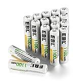 EBL 1.2V AAA Batterie Ricaricabili ad Alta Capacità da 1100mAh Ni-MH,1200 cicli con Auto-Scarica Bassa,Confezione da 16 pezzi