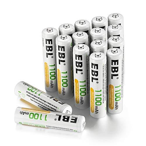 EBL AAA Batterie Ricaricabili ad Alta Capacità da 1100mAh Ni-MH,1200 cicli con Auto-Scarica Bassa,Confezione da 16 pezzi