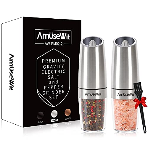 Gravity Electric Salt and Pepper Grinder Set【White Light】- Battery Operated Automatic Salt and Pepper Mills,Adjustable Coarseness,One-Handed Operation,Utility Brush,Stainless Steel by AmuseWit
