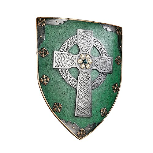 Design Toscano CL41032 Celtic Cross Warriors Shield Medieval Decor Wall Sculpture, 18 Inch, Single