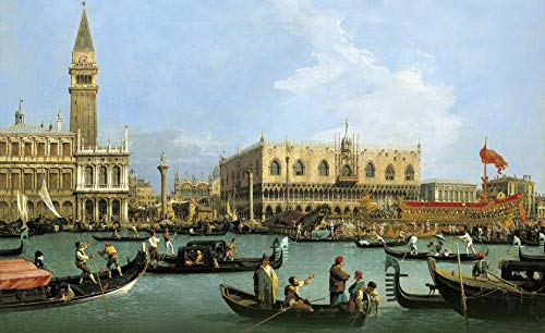 "Canaletto Return of The Bucentoro to The Molo on Ascension Day 1732 Royal Collection Trust UK - Windsor Castle 30"" x 18"" Fine Art Giclee Canvas Print (Unframed) Reproduction"