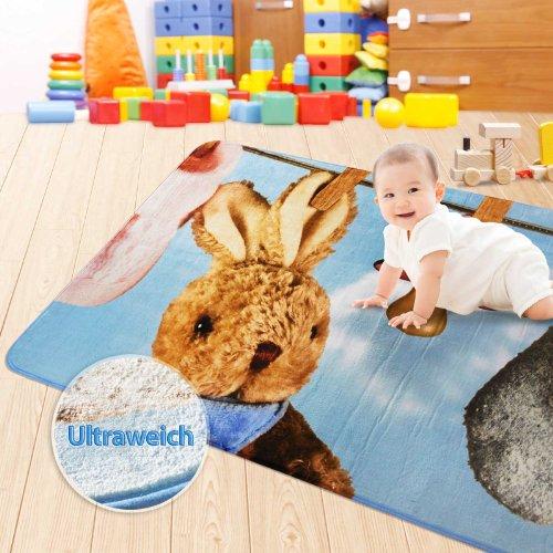 Floori Teppiche Ultraweicher Kinderspielteppich aus Mikrofasern | rutschfest | Motiv Baby Kaninchen | 130 x 190 cm