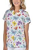 B-well Bambina - Casaca de Mujer de Manga Corta con Cuello en V, para Enfermeras, Dentistas, médicos, Estudiantes y Veterinarios Mariposas S