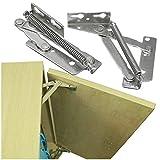 SUPERTOOL - 1 par de bisagras elevadoras, bisagras superiores de acero inoxidable, resistentes, estándares en la industria, para puerta/armario de cocina/armario