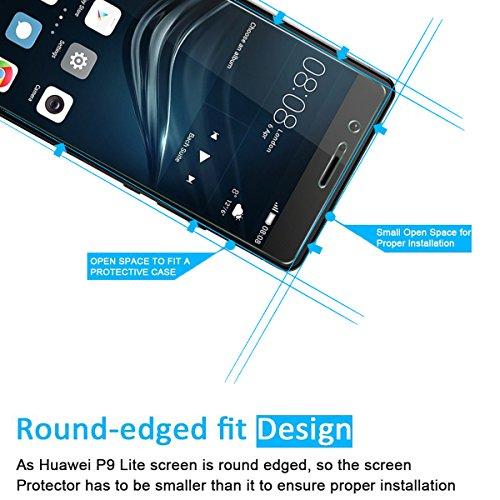 NEW'C PanzerglasFolie Schutzfolie für Huawei P9 Lite, Frei von Kratzern Fingabdrücken und Öl, 9H Härte, HD Displayschutzfolie, 0.33mm Ultra-klar, DisplayschutzfolieHuawei P9 Lite - 2