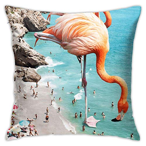 ZHENGYUAN Flamingos am Strand Redbubble Decor Tank Top Kissenbezug, Autokissen, Sofa, Kissenbezug, Innendekoration (45 cm x 45 cm)