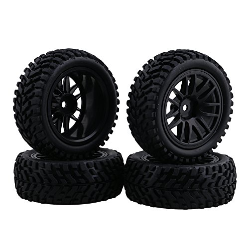 BQLZR RC 1:10 Wheel Rim Rubber Tyre Tires for Off-Road Vehicle Black Pack of 4