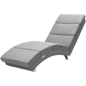 Casaria Relaxliege Liegesessel London Wohnzimmer Leinen Optik Grau Stoff  Ergonomisch 10x10cm Modern Liege Relaxsessel