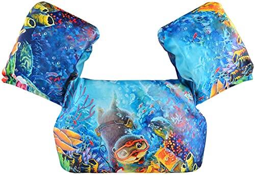 Mantimes Chaleco de natación para niños con alas de brazo adecuado para niños de 10 a 26 kg (gato azul)