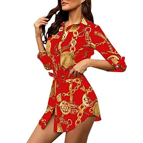 SANNYSIS Damen Langarm Hemdkleid V-Ausschnitt Elegant Kurz Blusenkleid Sexy Shirt Kleid Oberteil Kleid Bodycon Minikleid mit Gürtel Boho Drucken Sommerkleid Kleider (L, Rot)