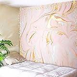 AMBZEK Tapiz de mármol de fantasía, 59 pulgadas de alto x 78 pulgadas de ancho, con purpurina líquida, color rosa dorado pastel dibujo acuarela efecto natural, arte antiguo para colgar en la pared,...