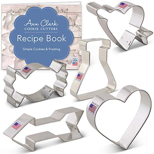 Ann Clark Cookie Cutters 5-Piece Valentine's Day Cookie Cutter Set with Recipe Booklet, Love Potion, Heart, Candy, Heart w/Arrow and Arrow