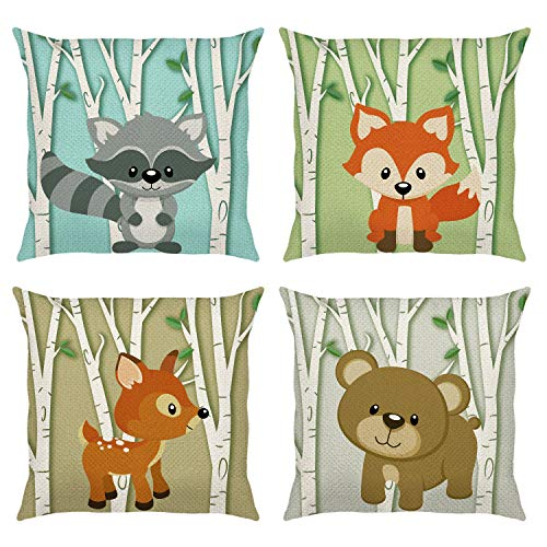 Bonhause Forest Animals Cushion Covers 18 x 18 Inch Set of 4 Deer Fox Birch Tree Decorative Throw Pillow Covers Cotton Linen Pillowcases for Sofa Couch Kids Bedroom Indoor Outdoor Decor, 45cm x 45cm
