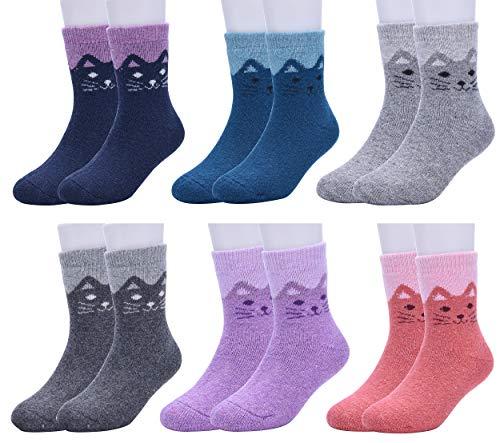 WYTartist Kinder Socken Thermo Socken Warme Kleinkind Mädchen Karikatur Niedliche Tier Socken Lässige Sport Schulen Laufen Socken, für 1-12 Jahre, 6 Paare (Cat, 4-7 Years)