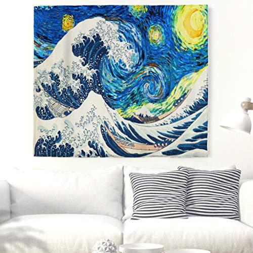 Gran Ola Espiral Estrella Clara de noche pared Alfombra pared colgantes Resumen Gran Ola de Kanagawa vistas de la Montaña Fuji pared de tapiz japonés ukiyoe techo pared decorativo 91x59inch blanco