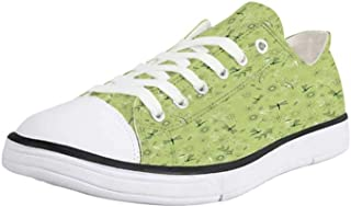K0k2t0 Canvas Sneaker Low Top Shoes,Dragonfly,Flourishing Artistic Landscape with Daisies on Grass and Dragonflies in The Air