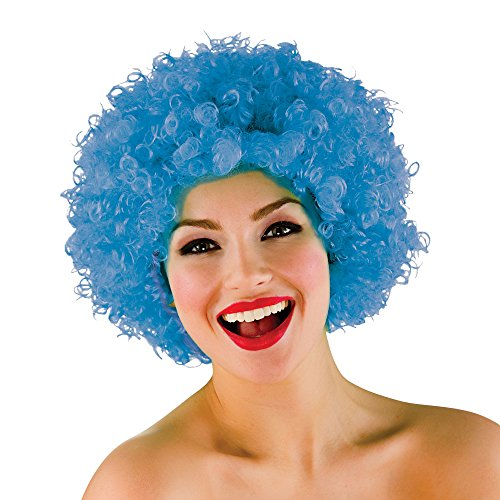 Funky Afro Halloween / Carnaval Accessoire Fancy Dress - Bleu 120Gm