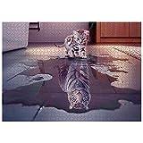 N / C 1000 Teile Puzzle, Katze mit Tiger im Herzen Kreative Puzzle, Hochauflösender Ausdruck, Pädagogisches Stressfreisetzung Spielzeug, Teambildung, Familienpuzzle für Kinder und Erwachsene (A)