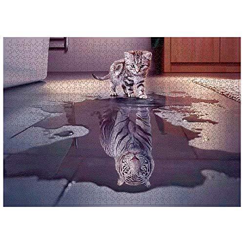 N / C 1000 pezzi Puzzle creativo gatto con tigre nel cuore di alta definizione espressione educativa antistress giocattolo educativo per bambini e adulti (A)