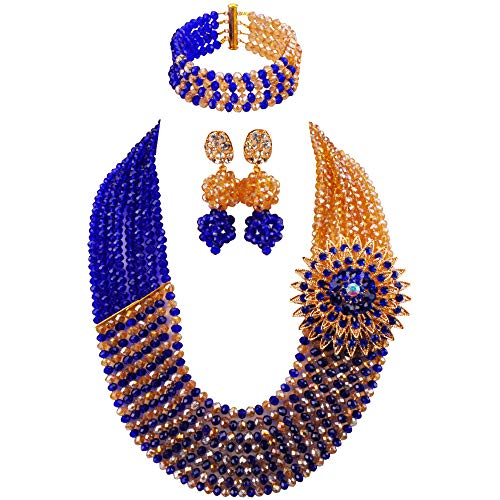 aczuv 8 Rows African Jewelry for Women Nigerian Beads Wedding Necklace Set Bridal Jewelry Sets (Royal Blue Champagne Gold AB)