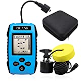 RICANK Portable Fish Finder with Hard Travel Case, Handheld Fish Depth Finder Ice Kayak Shore Boat Fishing Wired Fish Detector Device Sonar Sensor Transducer and LCD Display with Fishfinder Case