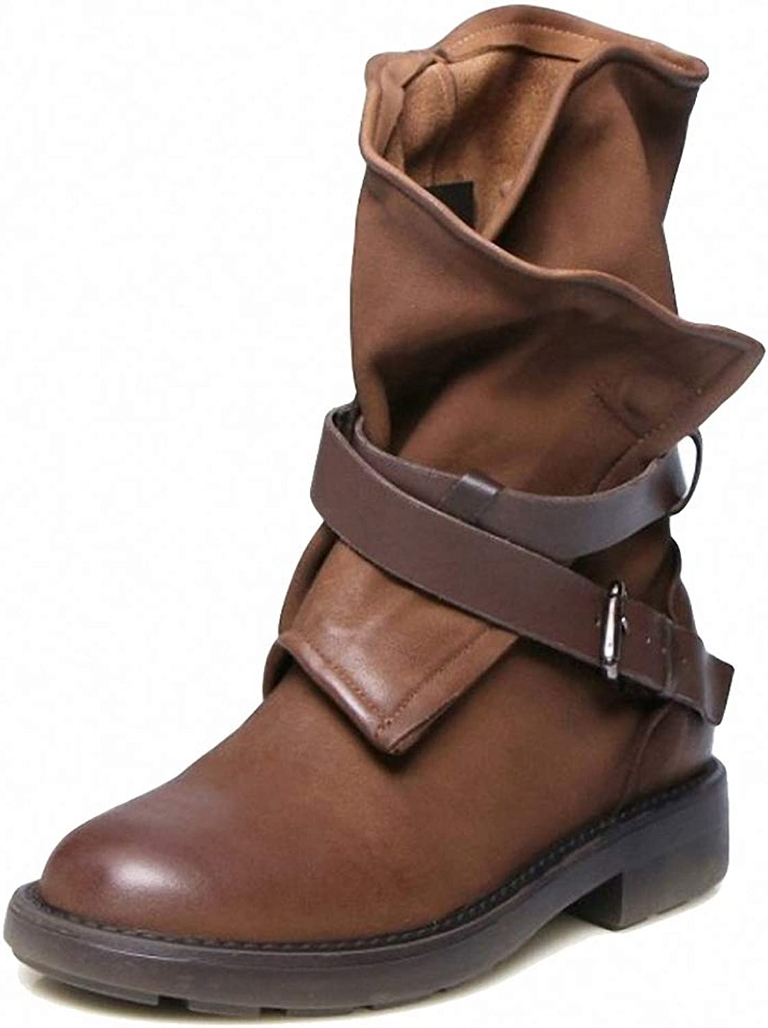 York Zhu Women Boots,Round Toe Buckle Strap Fashion Mid-Calf Boots Brown