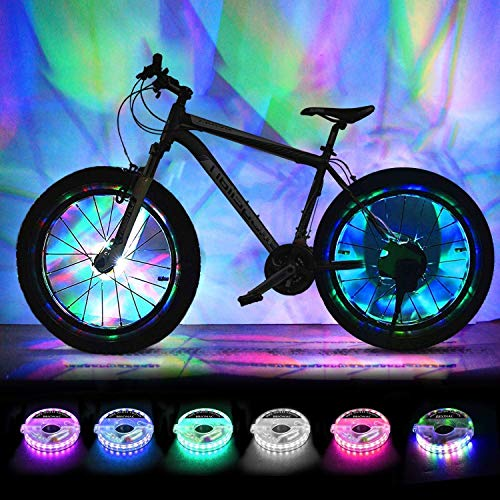 Rechargeable Bike Wheel Lights, LED Bike Spoke Lights Cycling Wheel Safety Light, Cool Bicycle Tire Spoke Decoration, USB Charge, Ultra Bright, Waterproof, Gifts for Boys Girls Adults, 2 Tire Pack