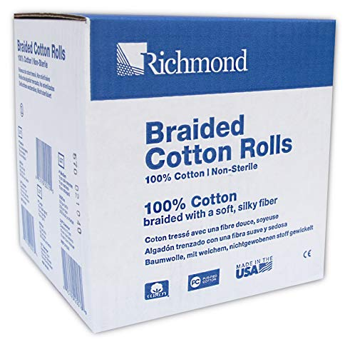 "Richmond Dental & Medical 201226 4"", Medium Braided Cotton Roll, Nonsterile (Pack of 250)"
