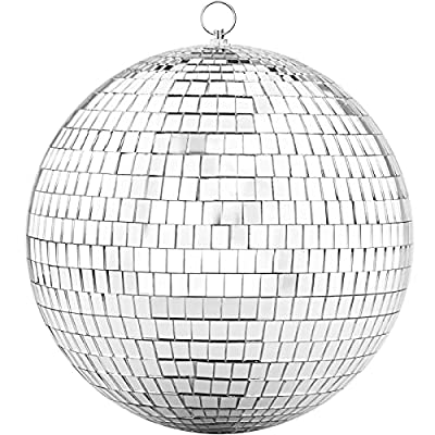 Updated 200mm Mirror Disco Ball with Hanging Ring, Silver Glitter Ball Great for Party or Dj Dance Light Effect Christmas Photo props
