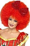 Smiffys-43270 Mega Peluca Afro de Payaso, con Lazo de Lentejuelas, Color Rojo, Tamaño único (Smiffy'S 43270)