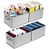 Artsdi Set of 4 Extra Large Storage Bins for Shelves, Rectangle Storage Box, Foldable Fabric Baskets Containers, Closet Organizer Shelf Cube Bin with Dual Handle for Home, Office, Gray
