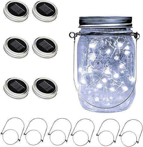 VOOKRY Solar Mason Jar Lid Light,4 Pack 20Led String Fairy Lights 4 Hangers(Jars Not Included),Best for Mason Jar Decor,Patio Garden Decor Solar Laterns Table Lights …