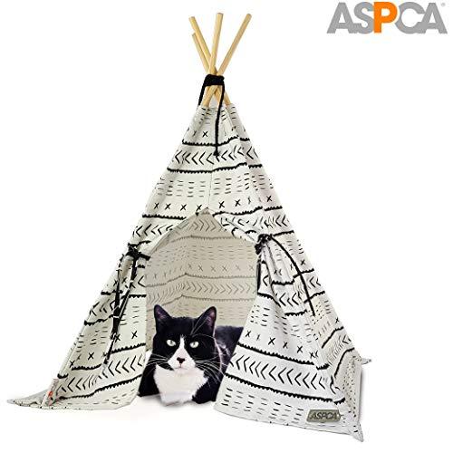 ASPCA Haustier-Zelt Wigwam für Katzen und Hunde, 73,7 x 57,1 cm, Tipi, weißes Haus
