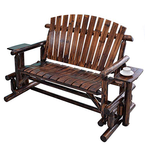 UWY Stool 67in outdoor park garden bench double sliding rocking chair, terrace courtyard carbonized solid wood bench weather resistant porch chair, rocking lounge chair patio/entrance furniture