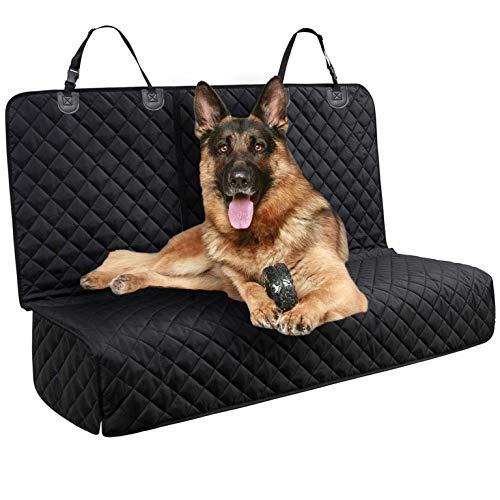DakPets wasserdichte Hunde Autoschondecke mit Seitenschutz & Reißverschlüsse, Universalgröße, Kratzfest, rutschfeste Hundedecke mit Sicherheitsgurt und Handtashce für Auto/Van/SUV