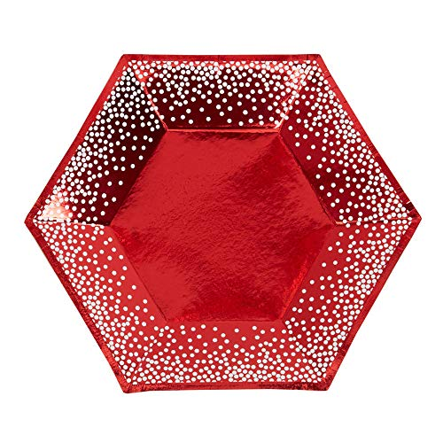 Premium Weddings Pappteller rot metallic sechseckig 17 cm 8 Stück - Advent Einwegteller Nikolaus Teller Weihnachten