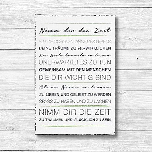 Nimm dir die Zeit - Dekoschild Wandschild Holz Deko Wand Schild 20x30cm Holzdeko Holzbild Geschenk Mitbringsel Geburtstag