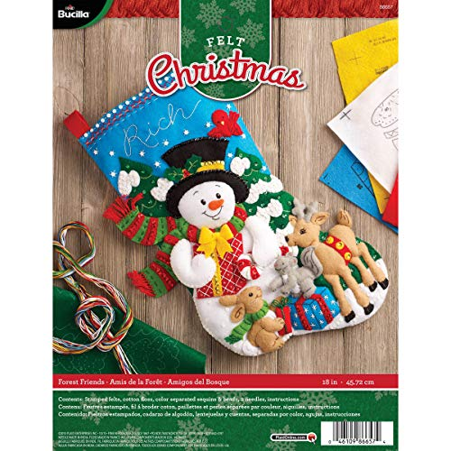 Bucilla 18-Inch Christmas Stocking Felt Applique Kit, Forest Friends