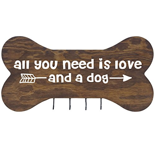 """Rooms Organized Rustic All You Need Wall Mounted Dog Bone Pet Leash Rack, Dog Collar Holder New Home Decor Gift Ideas and 4 Hooks 16"""" L x 8"""" H 2.5."""" deep (Walnut)"""