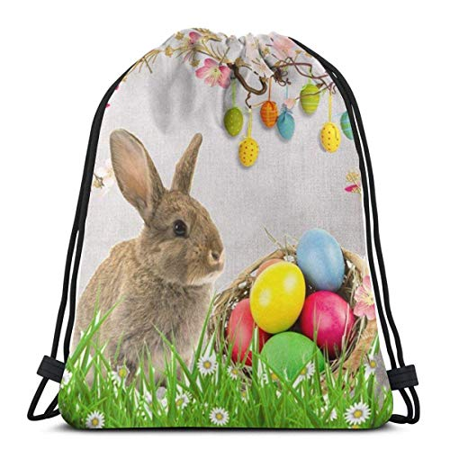 """Clothing decoration Happy Easter Oil Painting Smile Rabbit Bunny Butterflies On Green Grass 3D Print Drawstring Backpack Rucksack Shoulder Bags Gym Bag For Adult 16.9""""X14"""""""